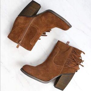 SBICCA Marimba Fringe heeled leather Booties